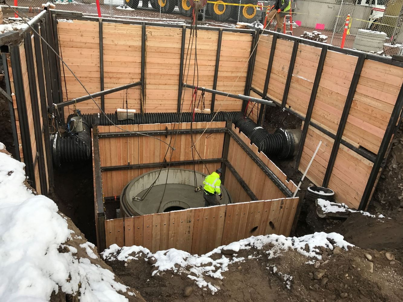 Missoula's Caras Park, showing a construction crew placing the 22-foot-deep Hydrodrodynamic Separator