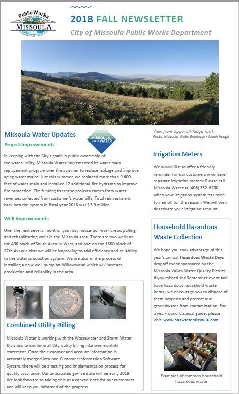 Fall Newsletter Front Page