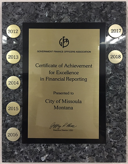 Excellence in Financial Reporting plaque